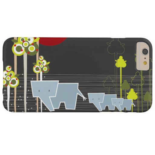 Whimsical Cute Elephant Family In Forest Trees Sun Barely There iPhone 6 Plus Case