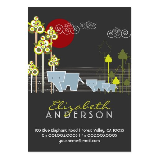 Whimsical Cute Elephant Family In Forest Trees Sun Large Business Cards (Pack Of 100)