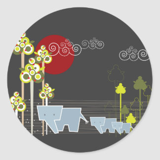 Whimsical Cute Elephant Family In Forest Trees Sun Classic Round Sticker