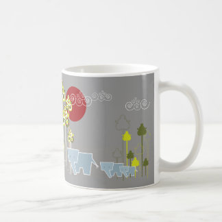 Whimsical Cute Elephant Family In Forest Trees Sun Coffee Mug