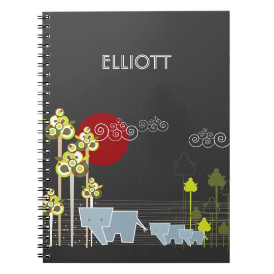 Whimsical Cute Elephant Family In Forest Trees Sun Notebook