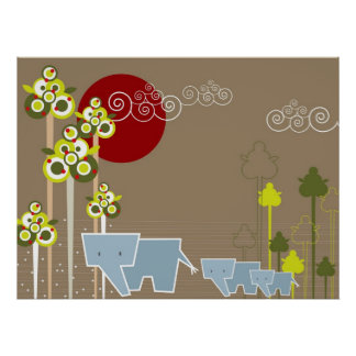 Whimsical Cute Elephant Family In Forest Trees Sun Poster