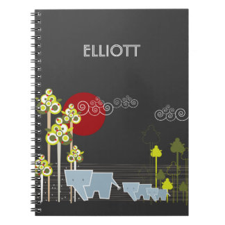 Whimsical Cute Elephant Family In Forest Trees Sun Spiral Notebook