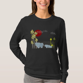 Whimsical Cute Elephant Family In Forest Trees Sun T-Shirt