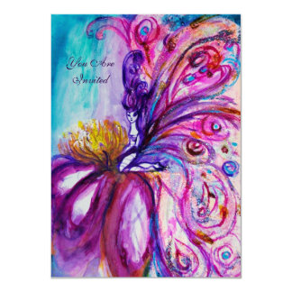 WHIMSICAL CUTE FAIRY IN PINK AND GOLD SPARKLES CARD