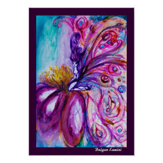 WHIMSICAL CUTE FAIRY IN PINK AND GOLD SPARKLES POSTERS