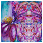WHIMSICAL CUTE FLOWER FAIRY,BLUE PINK PURPLE WINGS FABRIC