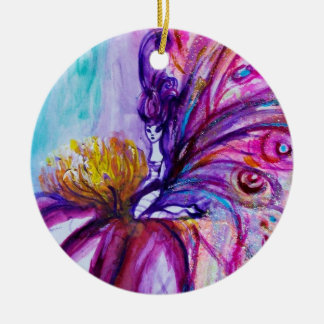 WHIMSICAL CUTE FLOWER FAIRY IN PINK,GOLD SPARKLES CERAMIC ORNAMENT