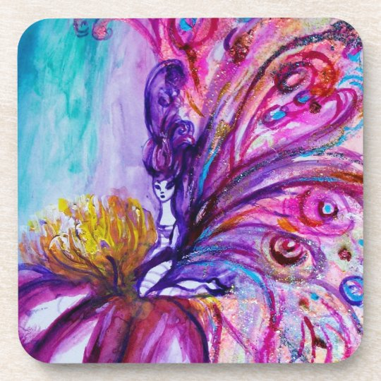 WHIMSICAL CUTE FLOWER FAIRY IN PINK,GOLD SPARKLES COASTER