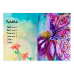 WHIMSICAL CUTE FLOWER FAIRY IN PINK,GOLD SPARKLES LARGE BUSINESS CARD