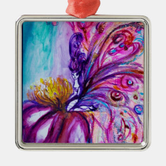 WHIMSICAL CUTE FLOWER FAIRY IN PINK,GOLD SPARKLES METAL ORNAMENT