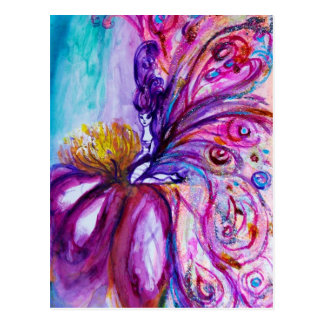 WHIMSICAL CUTE FLOWER FAIRY IN PINK,GOLD SPARKLES POSTCARD