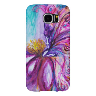 WHIMSICAL CUTE FLOWER FAIRY IN PINK,GOLD SPARKLES SAMSUNG GALAXY S6 CASES