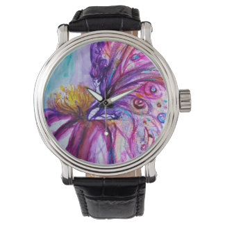 WHIMSICAL CUTE FLOWER FAIRY IN PINK,GOLD SPARKLES WRIST WATCHES