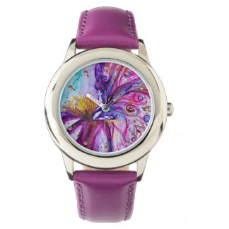 WHIMSICAL CUTE FLOWER FAIRY IN PINK,GOLD SPARKLES WRISTWATCH