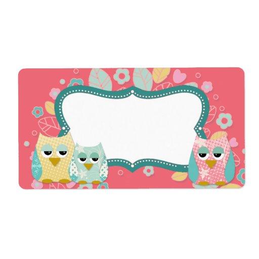 Whimsical Cute Fun Swirl Owl Baby Shower Blank Shipping ...