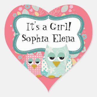 Whimsical Cute Fun Swirl Owl Baby Shower Stickers