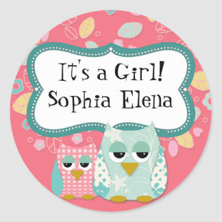 Whimsical Cute Fun Swirl Owl Baby Shower Stickers