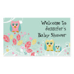 Whimsical Cute Fun Swirl Owl Owls Baby Name Wall Double-Sided Standard Business Cards (Pack Of 100)
