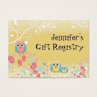 Whimsical Cute Fun Swirl Owl Owls Baby Name Wall Business Card