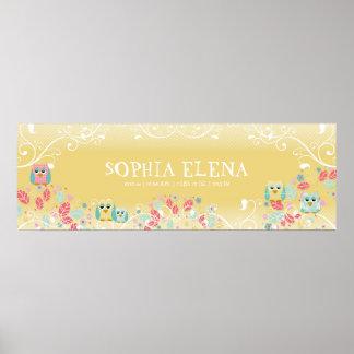 Whimsical Cute Fun Swirl Owl Owls Baby Name Wall Print