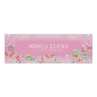 Whimsical Cute Fun Swirl Owl Owls Baby Name Wall Poster