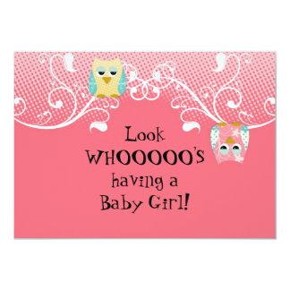 Whimsical Cute Fun Swirl Owl Owls Baby Shower Card