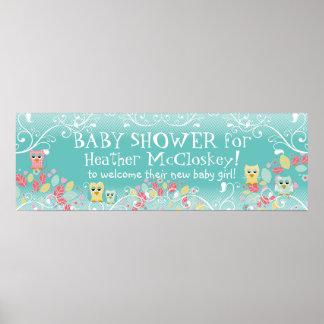 Whimsical Cute Fun Swirl Owl Owls Baby Shower Sign