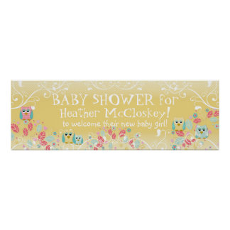 Whimsical Cute Fun Swirl Owl Owls Baby Shower Sign Poster