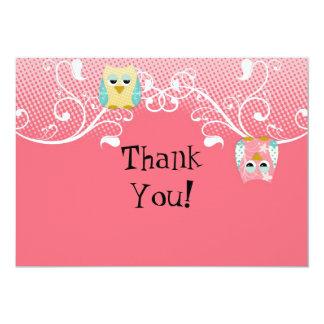 Whimsical Cute Fun Swirl Owl Owls Baby Thank You Card