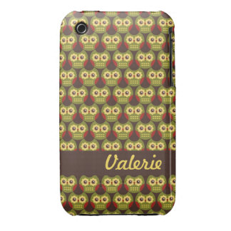 Whimsical Cute Green Owl Pattern 1 iPhone 3G Case