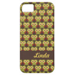 Whimsical Cute Green Owl Pattern 1 iPhone 5 Case