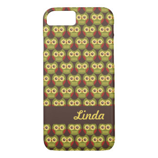 Whimsical Cute Green Owl Pattern 1 iPhone 7 case