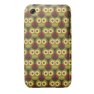 Whimsical Cute Green Owl Pattern 2 iPhone 3G Case