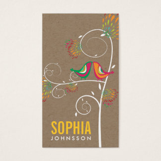 Whimsical Cute Kissing Summer Birds Kraft Paper Business Card
