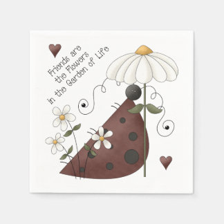 Whimsical Cute Ladybug and Daisy Friendship Quote Napkin