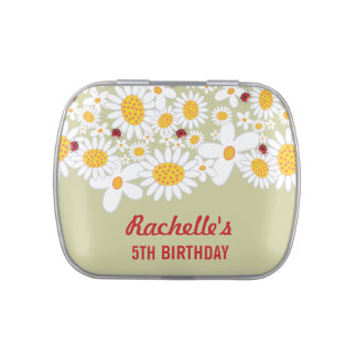 Whimsical Cute Ladybugs White Daisies Party Favor Candy Tins