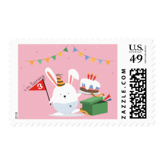 Whimsical cute little bunny birthday hat bunting postage