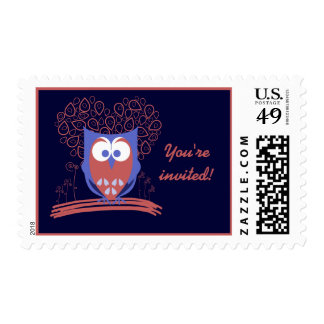 Whimsical Cute Owl Custom postage stamps