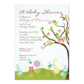 Whimsical Cute Owls Tree of Life Heart Leaf Swirls 5x7 Paper Invitation Card