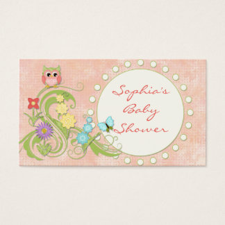 Whimsical Cute Owls Tree of Life Heart Leaf Swirls Business Card