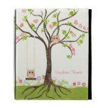 Whimsical Cute Owls Tree of Life Heart Leaf Swirls iPad Cases