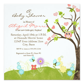 "Whimsical Cute Owls Tree of Life Heart Leaf Swirls 5.25"" Square Invitation Card"