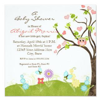 Whimsical Cute Owls Tree of Life Heart Leaf Swirls Invitations