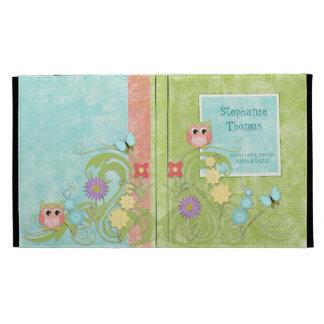 Whimsical Cute Owls Tree of Life Heart Leaf Swirls iPad Folio Cover