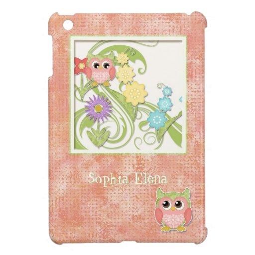 Whimsical Cute Owls Tree of Life Heart Leaf Swirls Cover For The iPad Mini