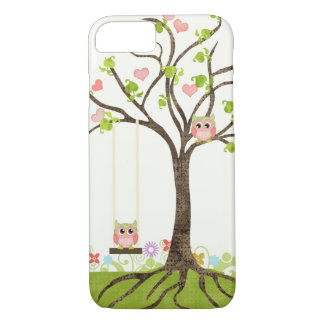 Whimsical Cute Owls Tree of Life Heart Leaf Swirls iPhone 7 Case