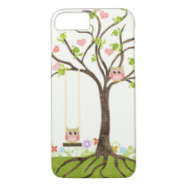 Whimsical Cute Owls Tree of Life Heart Leaf Swirls iPhone 8/7 Case