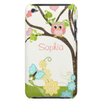 Whimsical Cute Owls Tree of Life Heart Leaf Swirls iPod Touch Case