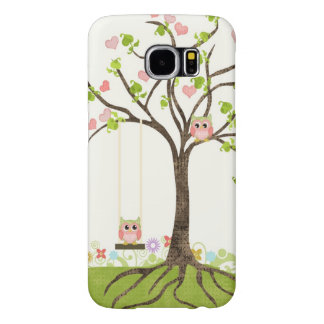 Whimsical Cute Owls Tree of Life Heart Leaf Swirls Samsung Galaxy S6 Cases